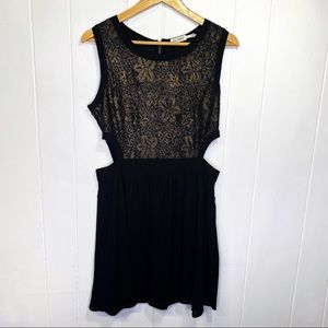 Blu Pepper black gold lace mini dress waist cutout